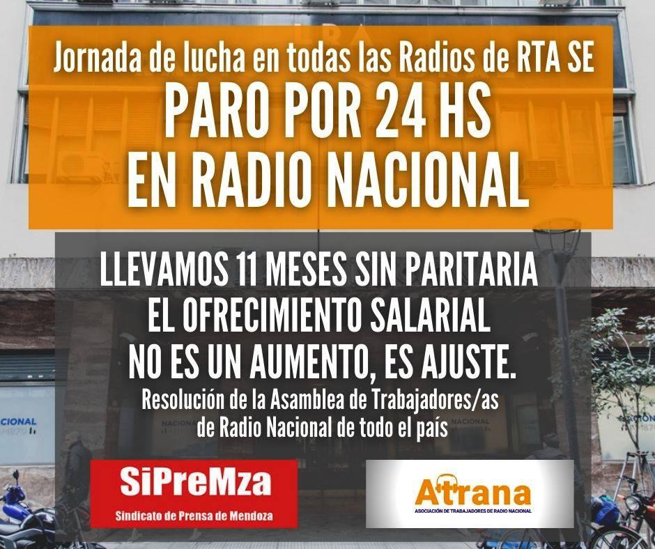 LOS TRABAJADORES Y TRABAJADORAS DE RADIO NACIONAL SEGUIMOS DE PARO HASTA LAS 20:00 hs.