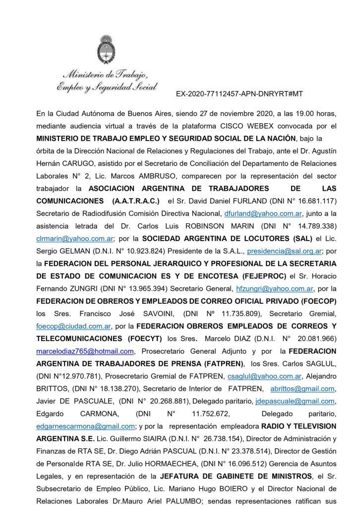 Compañeras, compañeros, transcribimos el acta de la reunión en el Ministerio de Trabajo: